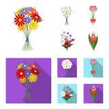 Un mazzo del fumetto dei fiori freschi, icone piane nella raccolta dell'insieme per progettazione Vario web delle azione di simbo Fotografie Stock Libere da Diritti