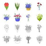 Un mazzo del fumetto dei fiori freschi, icone del profilo nella raccolta dell'insieme per progettazione Vario web delle azione di Fotografia Stock