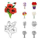 Un mazzo del fumetto dei fiori freschi, icone del profilo nella raccolta dell'insieme per progettazione Vario web delle azione di Immagini Stock Libere da Diritti