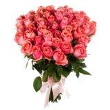 Un mazzo del rosa fresco, rose rosse isolate su fondo bianco Immagine Stock Libera da Diritti