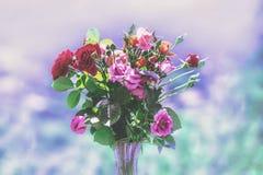 Un mazzo delle rose colorate in un vaso Fotografia Stock