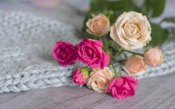 Un mazzo delle rose su un fondo grigio di lana merino e di legno teneri Immagini Stock