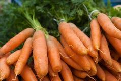 Un mazzo di carote crude con verde fotografie stock