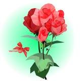 Un mazzo di cinque rose rosse con i gambi e delle foglie su un verde ha offuscato il fondo Immagine Stock