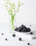 Un mazzo di more su un piatto bianco Fondo e mazzo leggeri dei fiori Un'alta chiave Fotografia Stock Libera da Diritti