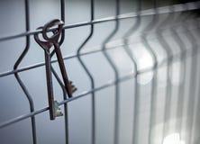 Un mazzo di vecchie chiavi d'annata della porta del metallo che appendono su un recinto di filo metallico con un fondo vago ed i  immagini stock