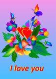 Un mazzo di vettore di fiori luminosi ed alcune farfalle e parole ti amo illustrazione di stock