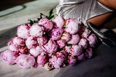 Un mazzo enorme delle peonie rosa immagine stock