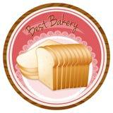Un meilleur label de boulangerie avec une miche de pain illustration stock