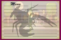Un menú del café, un restaurante con un logotipo de la langosta o crustáceo Vector ilustración del vector