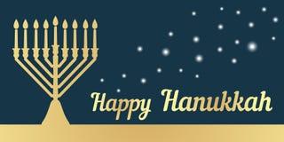 Un menorah tradicional para el festival de Hanukkah judío Bandera horizontal Silueta del oro en un fondo oscuro Illustr del vecto libre illustration