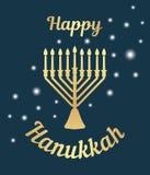 Un menorah tradicional para el festival de Hanukkah judío Tarjeta de felicitación Icono del oro en un fondo oscuro Ilustración de libre illustration