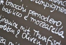 Un menu con l'offerta del giorno Fotografie Stock