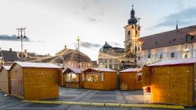 Un mercato di 2017 Natali del quadrato principale di Sibiu Fotografia Stock