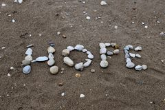 Un message sur une plage photos stock