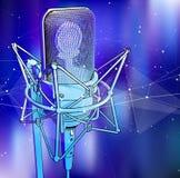 Un micrófono profesional en un fondo tecnológico azul frío es rodeado por una onda acústica Foto de archivo libre de regalías