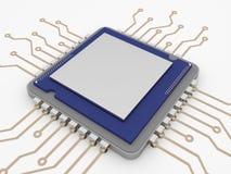 Un microprocesador o una CPU en un fondo blanco puro Foto aislada del microprocesador con el espacio blanco para el texto de enca Imagen de archivo