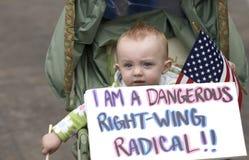 Un miembro de partido radical de té. Foto de archivo