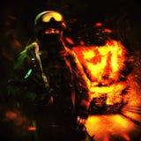 Un militar en la máscara y con un arma en su mano ilustración del vector