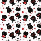 Un modèle avec de petits chiens bruns avec les coeurs rouges sur un fond blanc Illustration de Vecteur
