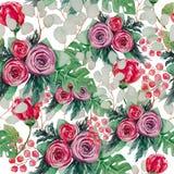 Un modèle de fleur sans couture d'aquarelle qui contient les belles fleurs illustration libre de droits