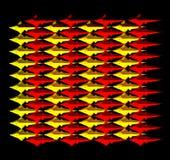 Un modèle incliné jaune-rouge de beaucoup de poissons Images stock
