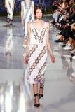 Un modèle marche la piste pendant l'exposition de Christian Dior Image stock