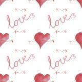 Un modèle sans couture avec des coeurs et l'amour et les flèches de mot Images stock