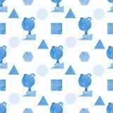 Un modèle sans couture d'un ours et formes dans le bleu, peints dans l'aquarelle Images libres de droits