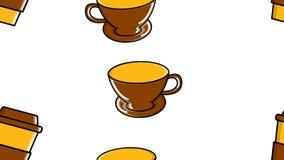 Un modèle sans couture de répéter des verres et des tasses de céramique avec de l'arabica americana de stimulation chaud rapide d illustration stock