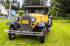 Un model 1930 de voiture de Ford dans Haines, Alaska Photo stock