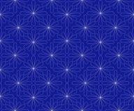 Un modello è un geometrico astratto senza cuciture dai contorni bianchi dei fiori su un fondo blu scuro Per tessuto Immagine Stock Libera da Diritti