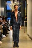 Un modello cammina la pista alla raccolta di Ryan Charlie Menswear Fall 2017 immagine stock libera da diritti