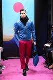 Un modello cammina la pista alla sfilata di moda di Stephen F Fotografia Stock Libera da Diritti