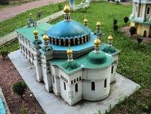 un modello della costruzione della chiesa del refettorio alla mostra delle indicazioni in miniatura fotografie stock libere da diritti