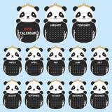 Un modello di 2018 calendari Panda sveglio a forma di animale, vettore in bianco e nero del fumetto di 2018 calendari Fotografia Stock