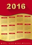 un modello di 2016 calendari (settimana comincia domenica) Immagine Stock Libera da Diritti