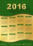 un modello di 2016 calendari (settimana comincia lunedì) Fotografia Stock
