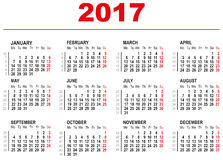 Un modello di 2017 calendari Settimane orizzontali Primo giorno lunedì Fotografie Stock