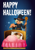 Un modello di Halloween con una strega Fotografia Stock Libera da Diritti