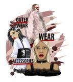 Un modello di tre ragazze in vestiti alla moda ed accessori Illustrazione d'avanguardia di schizzo di vettore illustrazione vettoriale