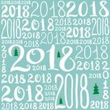 Un modello di vettore del numero 2018 Struttura del fondo del nuovo anno per la cartolina d'auguri, giftbox che si avvolge, decor illustrazione di stock