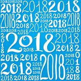 Un modello di vettore del numero 2018 Struttura del fondo del nuovo anno per la cartolina d'auguri, giftbox che si avvolge, decor Illustrazione Vettoriale