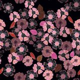 Un modello floreale lunatico della stampa di ripetizione nel rosa su un fondo nero royalty illustrazione gratis