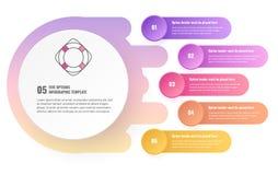 Un modello infographic di cinque opzioni illustrazione di stock