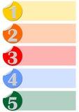 Un modello infographic di cinque punti progettato con le etichette del cerchio Fotografie Stock