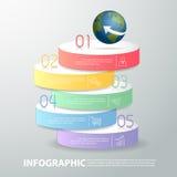 un modello infographic di 5 punti può essere usato per la disposizione di flusso di lavoro, diagramma Immagine Stock
