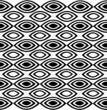 Un modello orizzontale ripetibile che consiste alternando gli ovali aguzzi bianchi e neri Immagini Stock