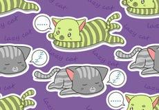 Un modello pigro senza cuciture di 2 gatti illustrazione di stock