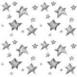 Un modello senza cuciture alla moda con le stelle in bianco e nero royalty illustrazione gratis